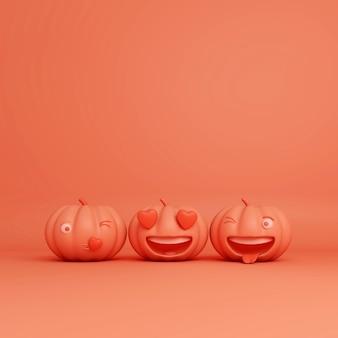 Glücklicher halloween-gruß mit lächelnden karikaturkürbissen, 3d-darstellung