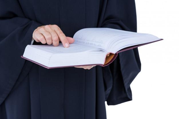 Glücklicher hübscher rechtsanwalt, der arbeitsgesetzbuch hält