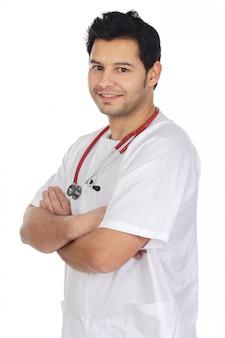 Glücklicher junger doktor a über weißem hintergrund