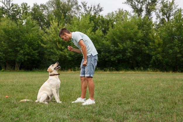 Glücklicher junger mann trainiert einen hund labrador im freien