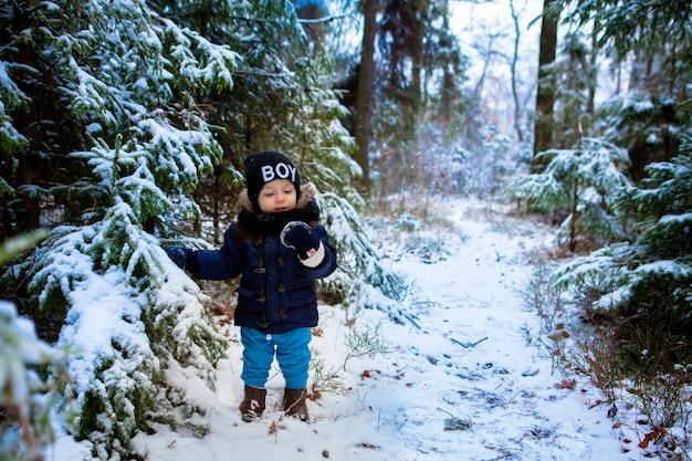 Glücklicher kleiner kleinkindjunge, der die schneeflocken im winterwald wundert