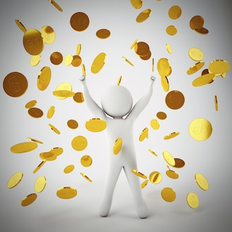 Glücklicher kleiner weißer mann jubelt unter einem regen von münzen und banknoten