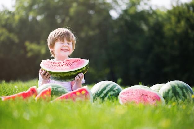 Glücklicher lächelnder kleiner junge, der wassermelone auf dem gras isst