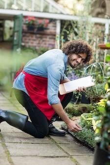 Glücklicher männlicher gärtner, der außerhalb gewächshaus arbeitet