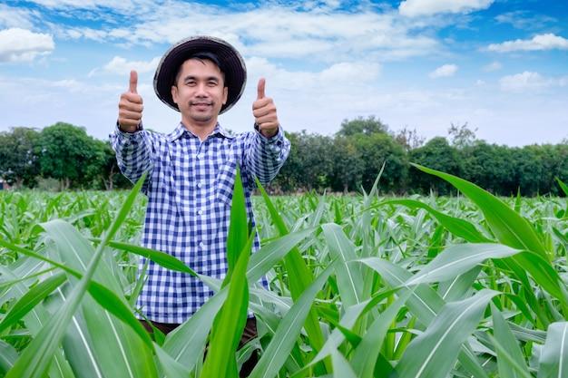 Glücklicher mann des porträts ist lächelnder daumen, der oben kamera am maisbauernhof betrachtet