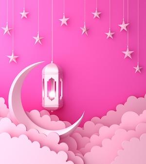 Glücklicher muharram islamischer dekorationshintergrund mit laternenhalbmondwolke