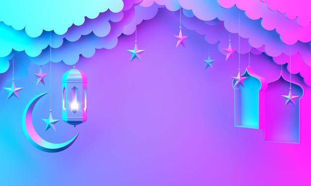 Glücklicher muharram islamischer neujahrsdekorationshintergrund mit laternenhalbmondwolke, kopienraum