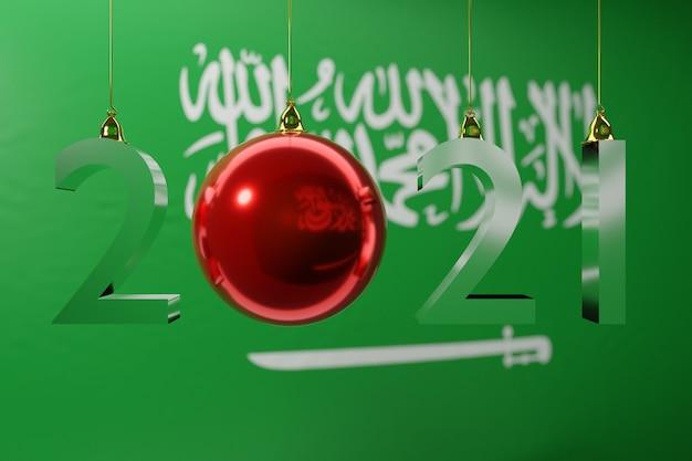 Glücklicher neuer ball der nationalflagge von saudi-arabien