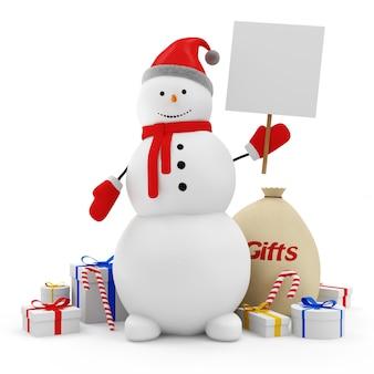 Glücklicher schneemann mit leerem brett und weihnachtszubehör lokalisiert auf weißem hintergrund