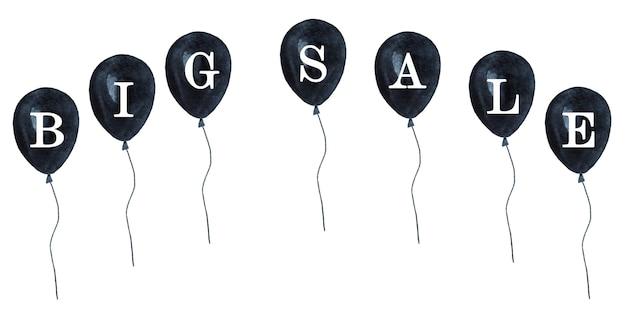 Glücklicher schwarzer freitag. buntes bild mit zeichnungen von papiertüten und luftballons. aquarellfarbe. einkaufs- und unterhaltungskonzept