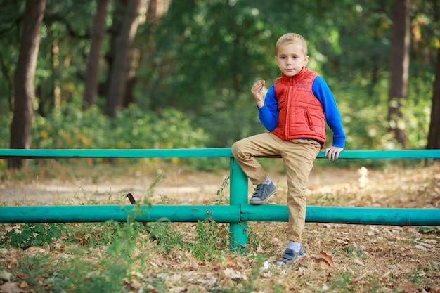 Glücklicher stilvoller junge sitzen auf dem zaun im wald im sonnigen herbsttag. lustiger lächelnder junge, der kekse im grünen park draußen isst. kleiner fröhlicher junge, der einen spaziergang auf der natur im warmen frühling genießt.