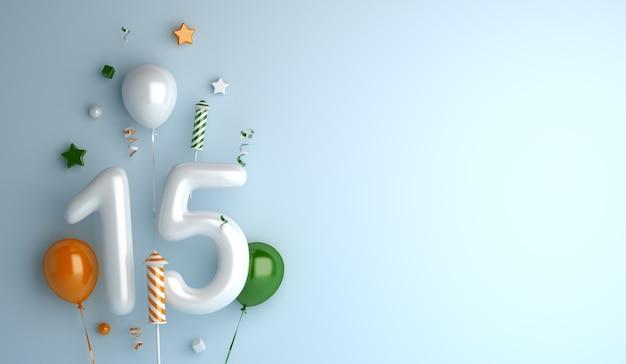Glücklicher unabhängigkeitstag von indien-dekorationshintergrund mit 15 ballonnummer