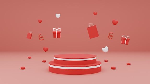 Glücklicher valentinstag für produktpräsentationspodest mit geschenkbox und herz auf rotem hintergrund. 3d-rendering