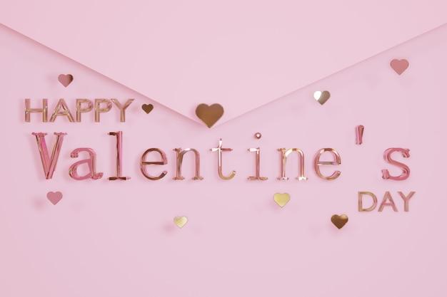 Glücklicher valentinstag glastext und herzform auf rosa buchstabenumschlaghintergrund 3d-rendering