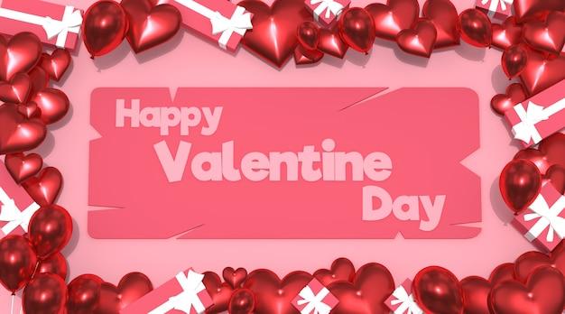 Glücklicher valentinstag mit ballongeschenkbox rosa hintergrund 3d rendering