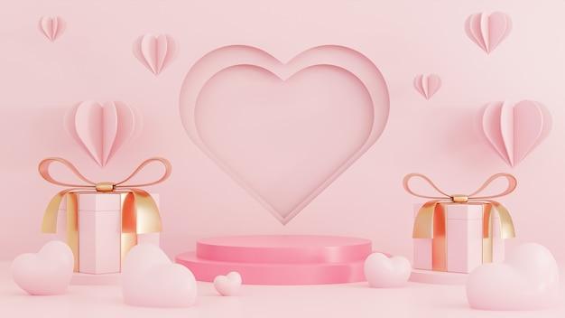 Glücklicher valentinstag-papierstil mit podium für produktpräsentation und herz 3d objekte auf rosa hintergrund.
