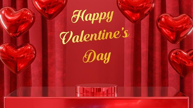 Glücklicher valentinstag soziales banner mit roten luftballons des roten hintergrunds und roten vorhängen mit podeststand 3d rendern