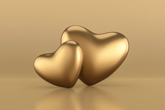 Glücklicher valentinstaghintergrund mit paar goldenen herzen. 3d-rendering.