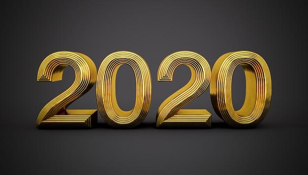 Glückliches 2020 in den goldenen buchstaben auf einem schwarzen