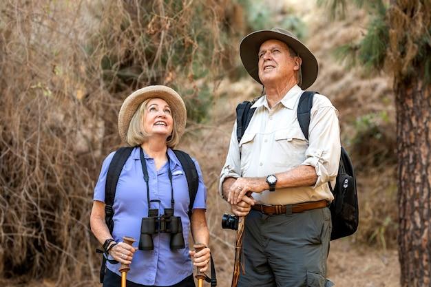 Glückliches älteres ehepaar, das die natur im kalifornischen wald genießt