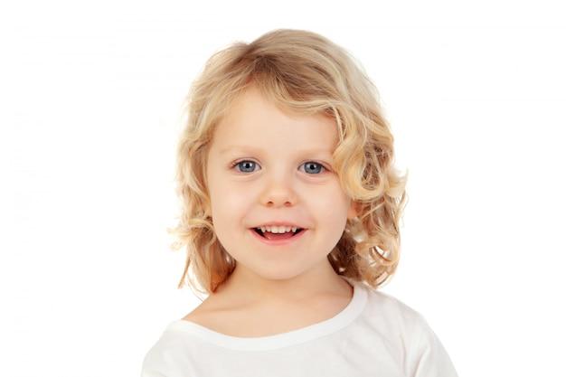 Glückliches blondes kind mit langen haaren