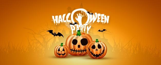 Glückliches halloween-banner. realistisches bild eines orange kürbises auf einem orange hintergrund.