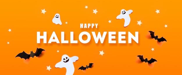 Glückliches halloween-feiertagskonzept mit schlägern, geist, sterne