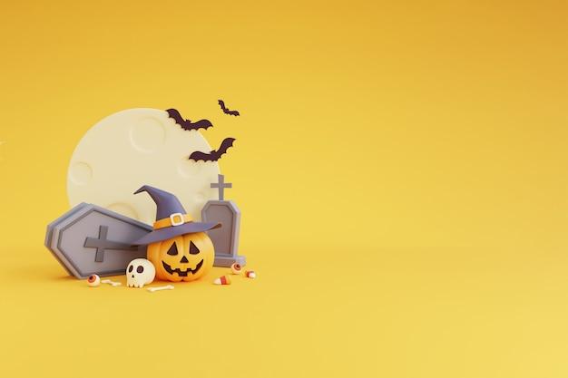 Glückliches halloween-konzept, kürbischarakter mit hexenhut, schädel, knochen, kruzifix, fledermaus, sarg. unter dem mondschein. auf gelbem hintergrund. 3d-rendering.