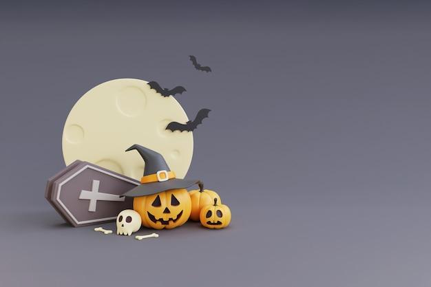Glückliches halloween-konzept, kürbischarakter mit hexenhut, schädel, knochen, kruzifix, fledermaus, sarg. unter dem mondschein. auf grauem hintergrund. 3d-rendering.