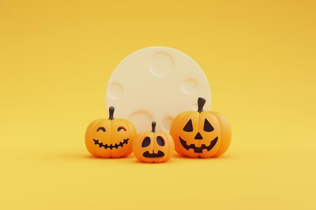 Glückliches halloween-konzept mit kürbischarakter auf gelbem hintergrund. wiedergabe 3d.
