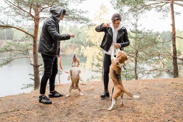 Glückliches junges lässiges paar, das mit zwei reinrassigen beagles spielt, während chill am see im wald genießt