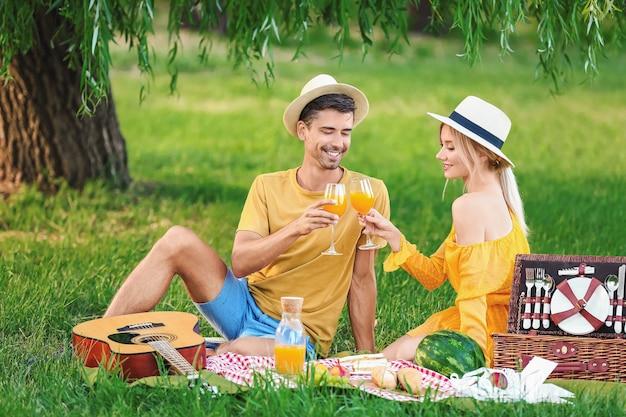 Glückliches junges paar auf picknick im park