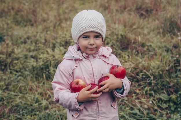 Glückliches kind, das rote äpfel in seinen händen hält. ernte lustiges kind draußen im herbstpark.
