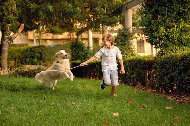Glückliches kind mit stock, das mit hund spielt