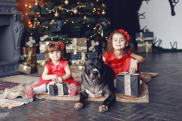Glückliches kind und hund mit weihnachtsgeschenk. kind in einem roten kleid. baby, das spaß mit hund zu hause hat. weihnachtsferienkonzept