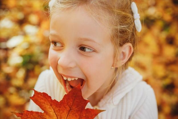 Glückliches kleines mädchen, das mit herbstblättern spielt. lustiges mädchen mit offenem mund im herbst park. porträt des reizenden mädchens mit dem emotionalen gesicht, das gesichter täuscht und macht. lächelndes und lachendes kind.