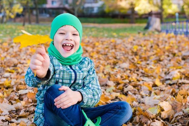 Glückliches lächelndes jungenporträt mit ahornblatt im freien