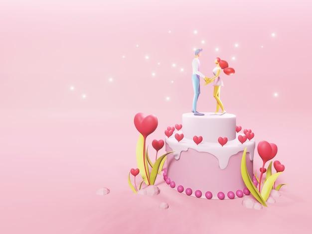 Glückliches paar auf einer rosa hochzeitstorte mit roten herzen