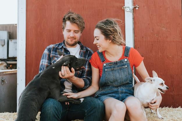 Glückliches paar, das mit ihren geretteten hunden lebt