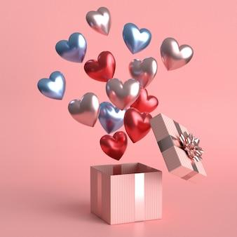 Glückliches valentinstagkonzept mit vielen herzförmigen luftballons .3d-darstellung