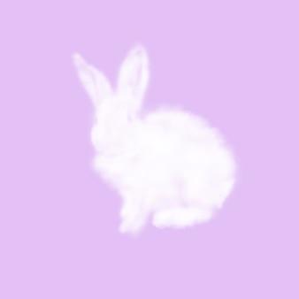 Glückwunschkarte vom flauschigen osterhasen aus weißer wolke auf einer pastellfarbenen lavendeloberfläche mit kopierraum. gruß frohe osterkarte.