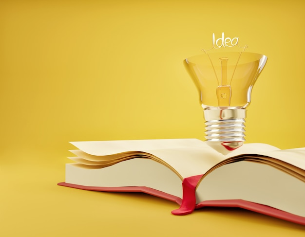 Glühbirne auf dem offenen buch lern- und kreativitätsideenkonzept auf einem gelb