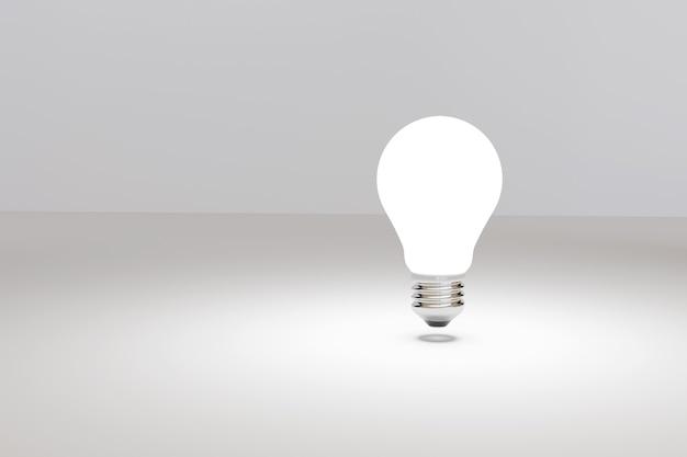 Glühbirne auf lokalisiertem weißem hintergrund. ideen- und inspirationskonzept. 3d-illustration.