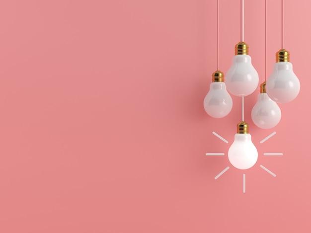 Glühbirne auf rosa pastellhintergrund