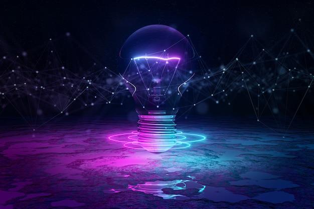 Glühbirne, die bodenhintergrund beleuchtet