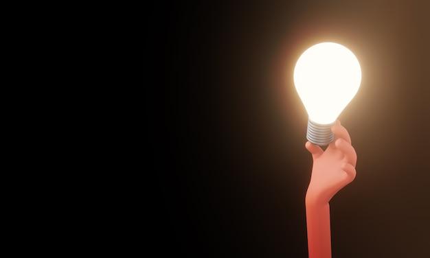 Glühbirne in der hand. kreatives ideen- und innovationskonzept, 3d-darstellung