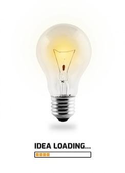 Glühbirne leuchtet mit text