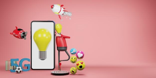 Glühbirne mann. kreatives ideen- und innovationskonzept, 3d-darstellung