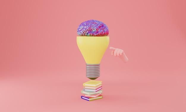 Glühbirne mit gehirn im inneren. kreatives ideen- und innovationskonzept, 3d-darstellung