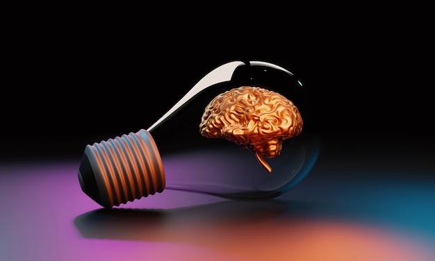 Glühbirne mit goldgehirn in 3d-darstellung. kreative idee